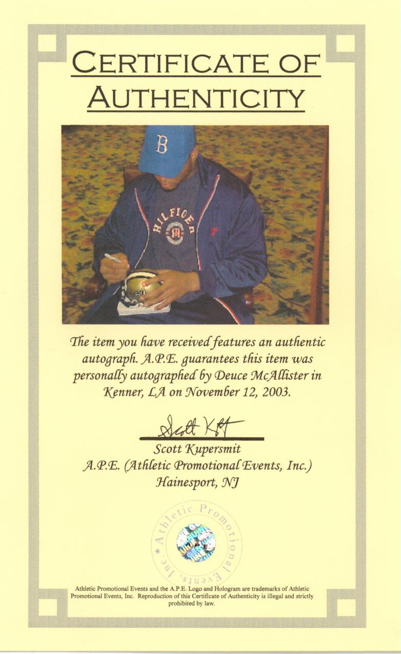 Sports memorablilia authentication process sports for Certificate of authenticity autograph template