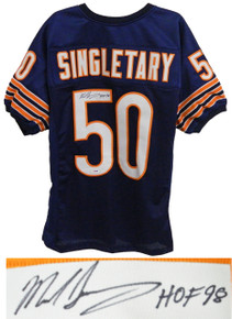 Mike Singletary Signed Navy Custom Throwback Chicago Bears Jersey w/HOF'98 - PSA/DNA