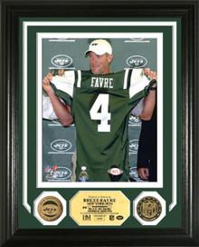 "Brett Favre NY Jets ""Press Conference"" 24KT Gold Coin Photo Mint"
