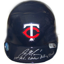 Joe Mauer Autographed Twins Mini-Helmet w/ 1st AL Catcher Batting Champ Insc.