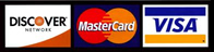 We Accept MasterCard, Visa, Discover, American Express
