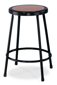 National Public Seating 6224-10 Black Round Hardboard Seat Stool
