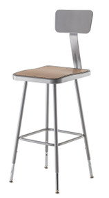 National Public Seating 6324HB Adjustable Stool with Square Hardboard Seat and Backrest 25 to 33 Inch Height