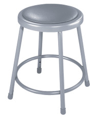 National Public Seating 6418 Round Stool with Gray Padded Seat 18 Inch