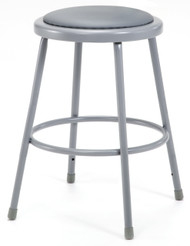 National Public Seating 6424 Round Stool with Gray Padded Seat 24 Inch