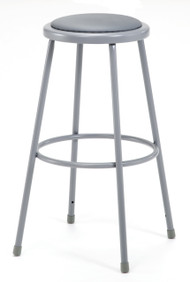 National Public Seating 6430 Round Stool with Gray Padded Seat 30 Inch
