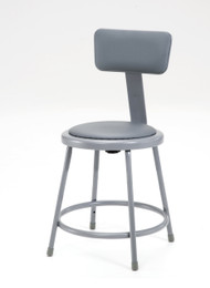 National Public Seating 6418B Round Stool with Gray Padded Seat and Backrest 18 Inch