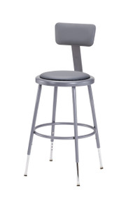 National Public Seating 6418HB Adjustable Round Stool with Gray Padded Seat and Backrest 19 to 27 Inch