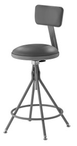 National Public Seating 6524HB Adjustable Round Swivel Stool with Gray Padded Seat and Backrest