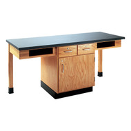 Diversified C2204K Two Station Science Cabinet Table Phenolic Resin Top with Book Compartments and Drawers 66 x 24