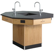 Diversified 1516K Octagon Workstation 56 inch with Pedestal Base and Epoxy Resin Top