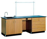 1116K Lab Instructors 8 Foot Epoxy Resin Top Desk with Sink