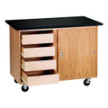 Diversified 4222KF Mobile Demonstration Table with Drawers and Flat Top
