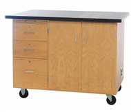 Diversified 4332KF Mobile Instructors Flat Top Desk with Drawers and Storage