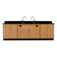 Diversified 3216K Wall Service Bench with Storage Cabinets Doors Epoxy Top