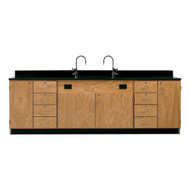 Diversified 3236K Wall Service Bench with Storage Cabinets and  8 Drawers Epoxy Top