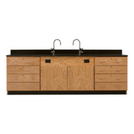 Diversified 3246K Wall Service Bench with Storage Cabinets and 8 Large Drawers Epoxy Top