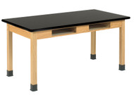 Diversified C7146K30N Two Book Compartment Epoxy Resin Oak Science Table 30 x 60 Top 30 High