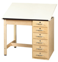 Shain DT-4A Drafting and Art Table with 6 Drawers and Adjustable Top