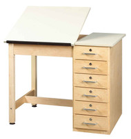 Shain DT-4SA Drafting and Art Table with 6 Drawers and 2 Piece Adjustable Top