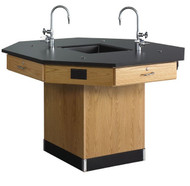 Diversified 1614K Octagon Workstation 62 inch with Pedestal Base and Phenolic Resin Top