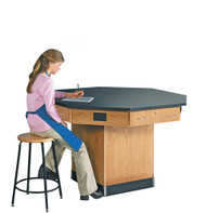 Diversified 1514KF Octagon Flat Top Workstation 56 inch with Pedestal Base and Phenolic Resin Top