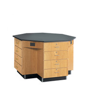 Diversified 1544KF Octagon Flat Top Workstation 56 inch with Drawer Base and Phenolic Resin Top