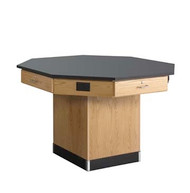 Diversified 1614KF Octagon Flat Top Workstation 62 inch with Pedestal Base and Phenolic Resin Top