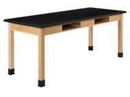 Diversified C7152K30N Two Book Compartment ChemGuard Oak Science Table 30 x 72 Top 30 High
