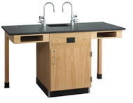 Diversified C2714K Two Station Service Center Phenolic Resin Top with Full Cupboard