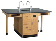 Diversified C2414K Four Station Service Center Phenolic Resin Top with Drawers and Doors