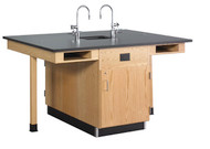 Diversified C2614K Four Station Service Center Phenolic Resin Top with Full Cupboard