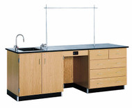 Diversified 1114K Lab Instructors 8 Foot Phenolic Top Desk with Sink