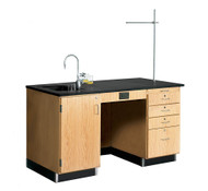 Diversified 1216K Lab Instructors Desk 5 Ft with Epoxy Top and Sink