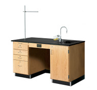 Diversified 1214K Lab Instructors Desk 5 Ft with Phenolic Top and Sink