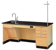 Diversified 1214K-L-ADA Lab Instructors ADA Desk 6 Ft with Phenolic Top and Sink