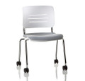 KI Grazie GLNAU Four Leg Upholstered Armless Chair with Casters