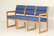 Wooden Mallet DW2-3D Valley Series Three Seat Sofa  Sled Base