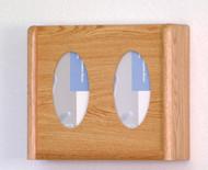 Wooden Mallet GBW11-2 Glove or Tissue Box Holder 2 Pocket  Oval