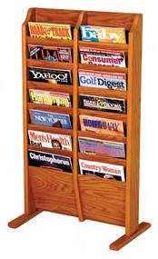 Wooden Mallet MR14-FS Cascade Free Standing Magazine Rack 14 Pocket