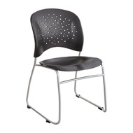 Safco 6804BL Reve Guest Chair with Sled Base and Round Back - Black