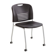 Safco 4291 VY Guest Chair with Straight Leg and Casters - Black