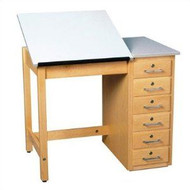 Shain DT-31A Drafting Table with Adjustable Drawing Surface and Drawers