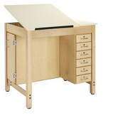 Shain DT-33A Drafting Table with Adjustable Drawing Surface with Drawers and Board Storage