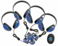 Califone 1114BL4 Mini Stereo Jackbox with Four Headphones Blue
