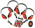 Mini Stereo Jackbox with Four 2800 Headphones, Red