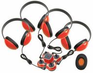 Califone 1114RD-4 Mini Stereo Jackbox with Four 2800 Headphones Red
