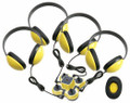 Califone 1114YL4 Mini Stereo Jackbox with Four Headphones Yellow