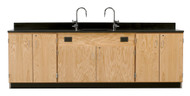 Diversified 3214K Wall Service Bench with Storage Cabinets Doors Phenolic Top