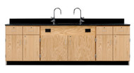 Diversified 3224K Wall Service Bench with Storage Cabinets Drawers and Doors Phenolic Top